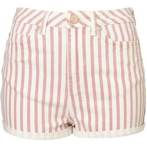 TOPSHOP MOTO HIGH WAISTED STRIPED SHORTS